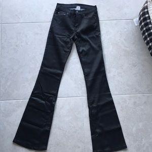 Black wax tencel Mid rose skinny bootleg jean